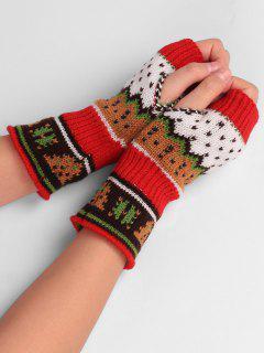 Christmas Tree Embellished Crochet Knit Fingerless Gloves - Red