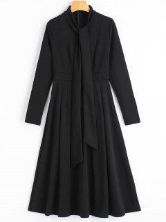 Long Sleeve Bow Tie Flare Dress - Black M