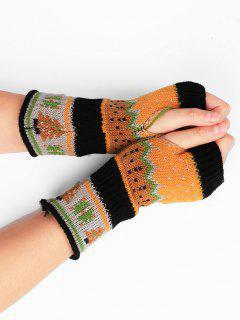 Christmas Tree Embellished Crochet Knit Fingerless Gloves - Black