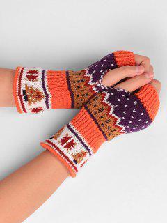 Christmas Tree Embellished Crochet Knit Fingerless Gloves - Orange Red