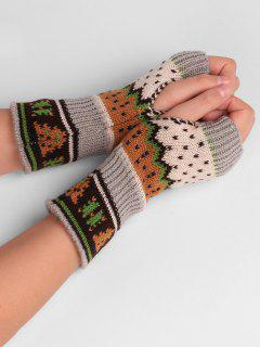 Christmas Tree Embellished Crochet Knit Fingerless Gloves - Beige