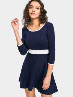 Cut Out Back Empire Waist Knit Dress - Cadetblue M