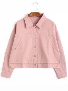 Taschen-Knopf-oben Jacke - Pink S
