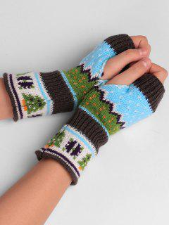 Christmas Tree Embellished Crochet Knit Fingerless Gloves - Deep Gray
