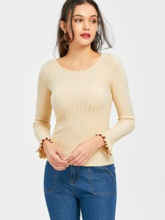 Pullover Piped Ribbed Sweater - Apricot