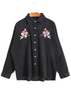 High Low Floral Embroidered Corduroy Jacket - Black