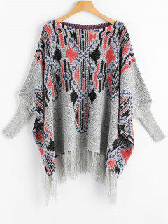 Dolman Sleeve Tassels Graphic Sweater - Gray