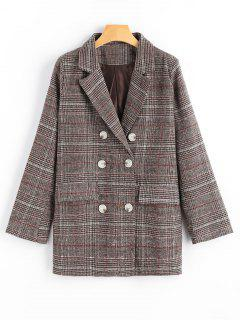 Double Breasted Checked Lapel Blazer With Pockets - Checked S