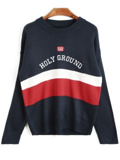 Holy Ground Embroidered Striped Sweater - Black