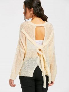 Bow Tied Oversized Cut Out Knitwear - Light Apricot
