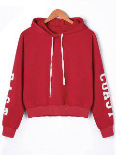 Pullover Letters Drop Shoulder Hoodie - Red M