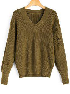 V Neck Distressed Pullover Sweater - Army Green