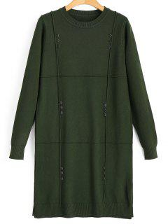 Buttoned Side Slit Pullover Sweater - Army Green