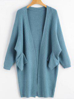 Dolman Sleeve Longline Open Cardigan - Blue