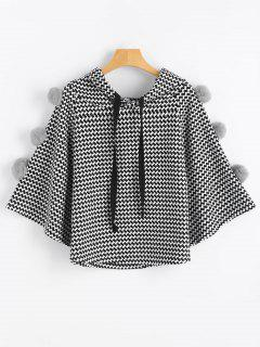 Pompoms Graphic Drawstring Cape Hoodie - White And Black
