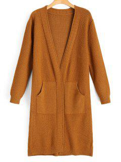 Open Front Textured Cardigan With Pockets - Light Brown