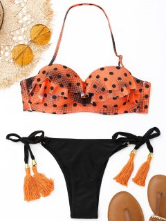Ensemble Bikini Avec Armatures à Pois Et Pompons - Orange S