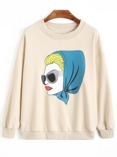 Fashion Lady Print Sweatshirt - Apricot S