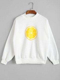 Mock Neck Lemon Print Sweatshirt - White M