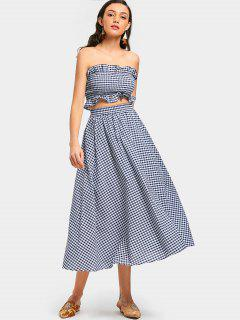 Smocked Checked Bandeau And Flare Skirt Set - Checked M