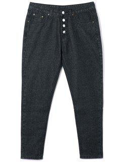 Button Closure Tube Jeans - Black Xl