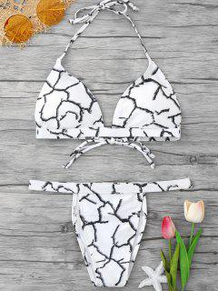 Halter Abstract Print Thong Bikini Set - White M