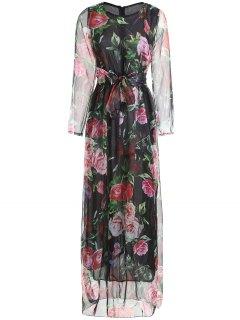 Floral Print Long Sleeve Belted Maxi Dress - Black 2xl