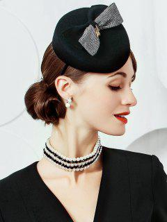 Striped Pattern Bowknot Embellished Fedoras Pillbox Hat - Black