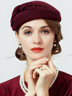 Bowknot Embellished Artifical Wool Pillbox Hat - Wine Red
