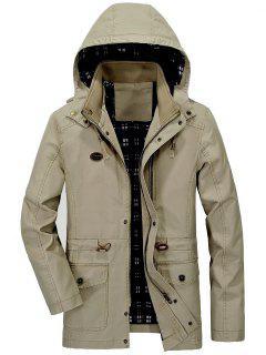 Waist Drawstring Hooded Coat - Light Khaki L