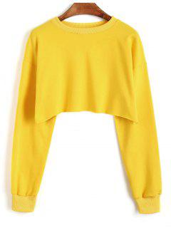 Sporty Cropped Sweatshirt - Mustard