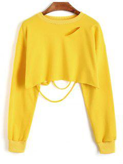 Cropped Ripped Sweatshirt - Mustard