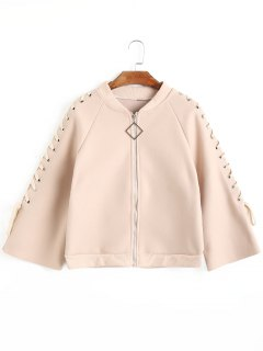 Zippered Lace Up Sleeve Jacket - Apricot