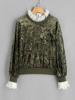 Mesh Ruffle Neck Velvet Sweatshirt - Green Xl