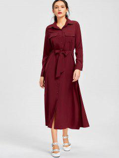 Button Up Belted Shirt Maxi Dress - Wine Red S