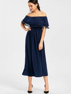 Vestido A Media Pierna De Solapa Borlas De Superposición - Azul Purpúreo S