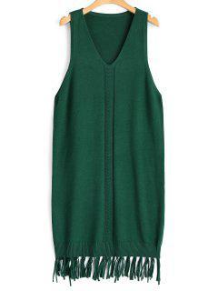 Longline Fringed Vest V Neck Sweater - Green