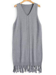 Longline Fringed Vest V Neck Sweater - Gray