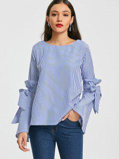 Self Tie Flare Sleeve Striped Blouse - Blue Stripe Xl
