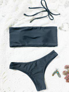 High Cut Bandeau Thong Bathing Suit - Blue Gray S