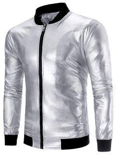 Zipper Up Metallic Farbe Lame Jacke - Silber L