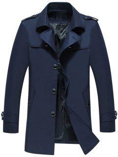 Einreihige Epaulet-Design-Trench-Jacke - Schwarzblau M
