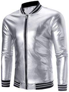Streifenpaneel Metallic Color Lame Jacke - Silber L