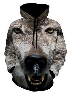 Hund Gedruckter 3D TierHoodie - Grau 2xl