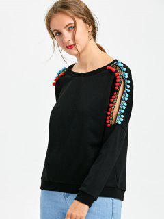 Embellished Slit Sleeve Sweatshirt - Black 2xl