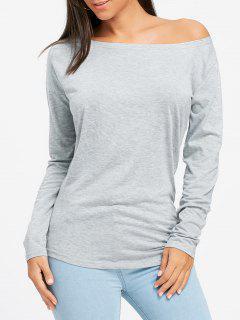 Camiseta Manga Larga Con Cuello Vuelto Y Escote Asimétrico - Gris S