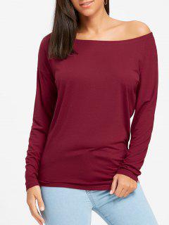 T-shirt Tunique à Encolure Dégagée à Manches Longues - Rouge Vineux  S