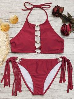 Ensemble De Bikini à Encolure Montante Et à Franges Shell - Rouge S