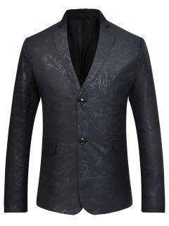 Lapel Collar Flap Pockets Casual Blazer - Black Xl