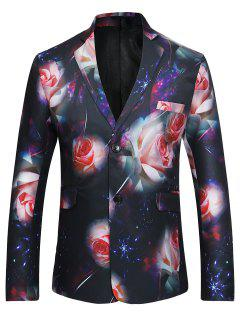 Floral 3D Print Single Breasted Lapel Blazer - Xl